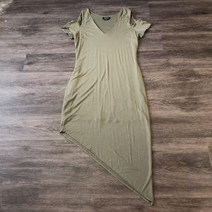 Bebe Asymmetrical Cold Shoulder Bodycon Dress